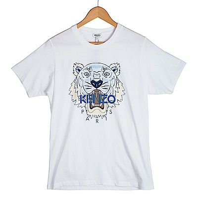 KENZO 彩色印刷虎頭男版短T 白色