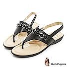 Hush Puppies DACHSHUND 舒適減壓夾腳涼鞋-黑色