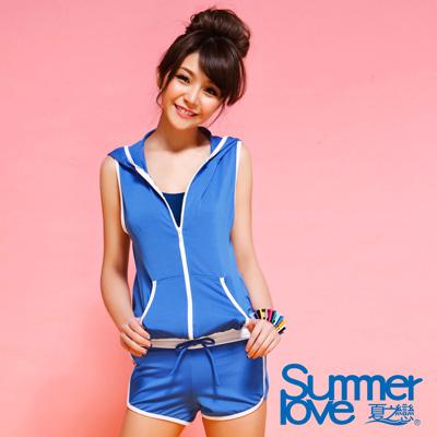 Summer Love夏之戀  比基尼泳裝 外搭連身褲 藍色三件式