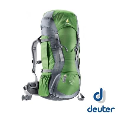 【德國 Deuter】FOX 40+4L 輕量高山拔熱透氣背包_綠/灰