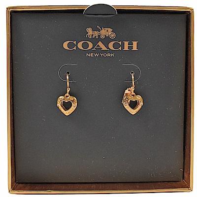 COACH 經典LOGO心型環裝飾耳環(金)