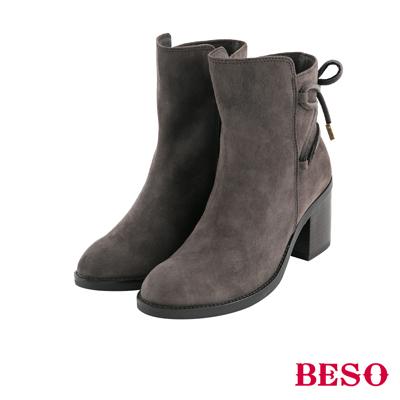 BESO法式女伶 馬甲繫繩綁帶粗跟短靴~灰