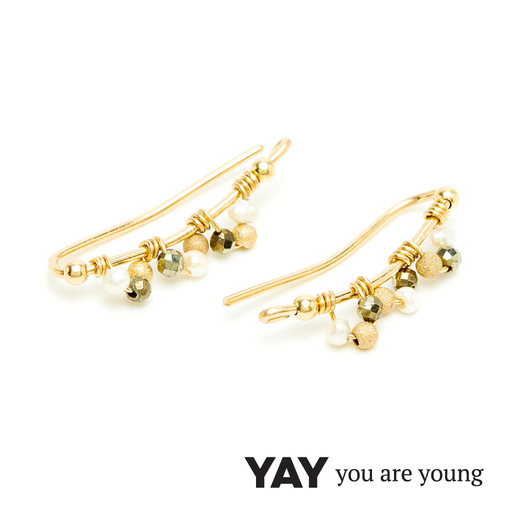 YAY You Are Young Frida 寶石花束耳環 貼合耳廓耳環 珍珠X星辰豆豆