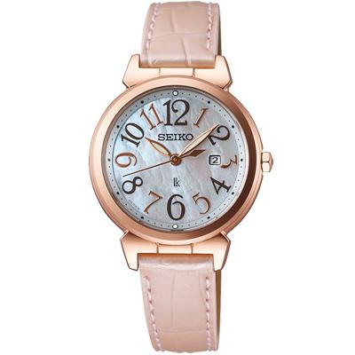 SEIKO LUKIA精工珍珠巧貝太陽能真皮時尚腕錶(SUT190J1)-珍珠貝/30mm