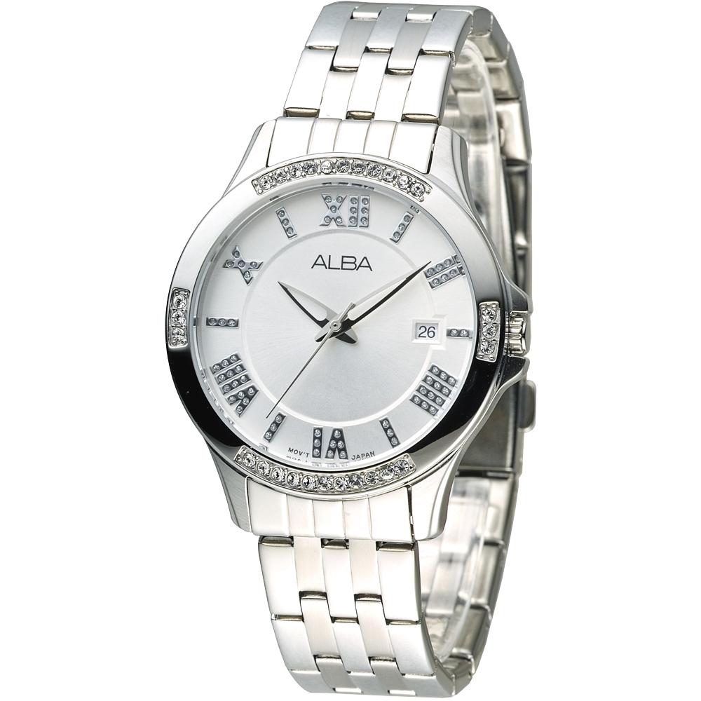 ALBA雅柏手錶 情定羅馬晶鑽女錶-銀白(AG8405X1)/36mm 保固二年