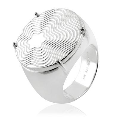 MONT BLANC 萬寶龍 六角星圓形寬版純銀戒指