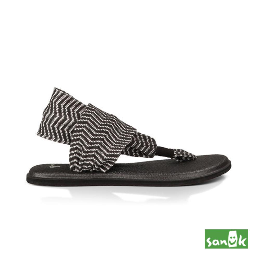 SANUK 波浪紋瑜珈墊人字涼鞋-女款(黑白色)