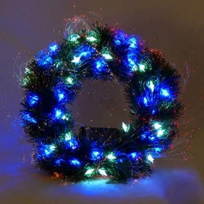 20吋LED星星燈光纖聖誕花圈