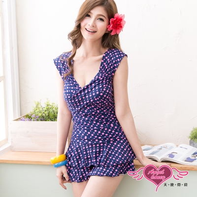 天使霓裳 沁涼豔夏 一件式連身泳衣(深藍M~XL)