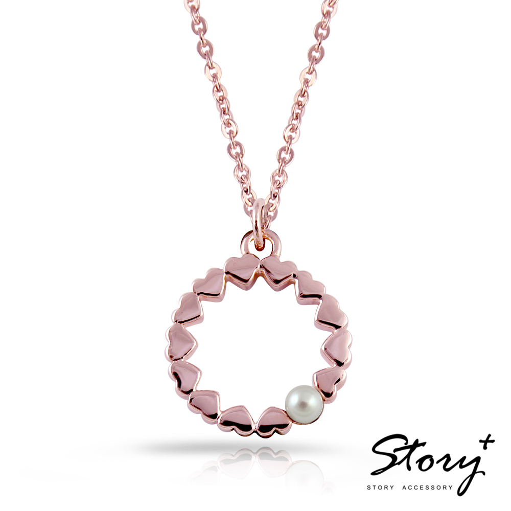 STORY故事銀飾-圓願天然珍珠項鍊(玫瑰金)