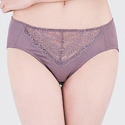 思薇爾 微醺心戀系列M-XXL蕾絲中腰三角內褲(水銀紫)