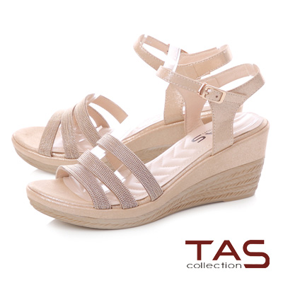 TAS 金屬質感繫帶繞踝飾扣楔型涼鞋-典雅金