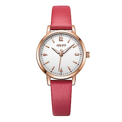 JULIUS聚利時 經典時刻簡約時尚腕錶-豔陽紅/29mm