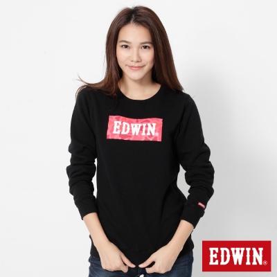 EDWIN 迷彩LOGO印花厚長袖T恤-女-黑色