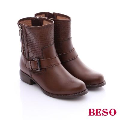 BESO 簡約知性 牛皮編織壓紋拼接雙拉鍊釦飾低跟短靴 咖啡色