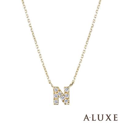 A-LUXE 亞立詩 Alphabet系列10K鑽石項鍊-N