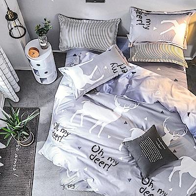 A-one - 台灣製 雙人床包+枕套二入 秘密森林 雪紡棉磨毛加工處理