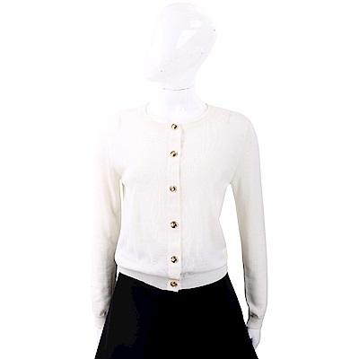 BOUTIQUE MOSCHINO 100%小羊毛金釦米白色開襟羊毛衫