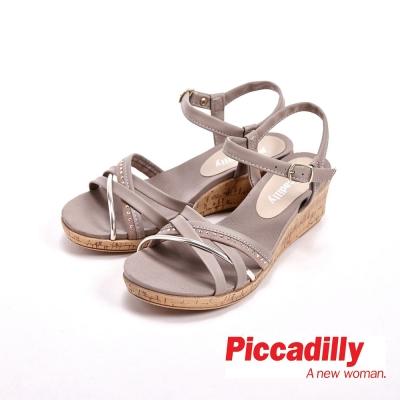 Piccadilly 度假風交叉帶厚底涼鞋 女鞋-灰(另有藍)