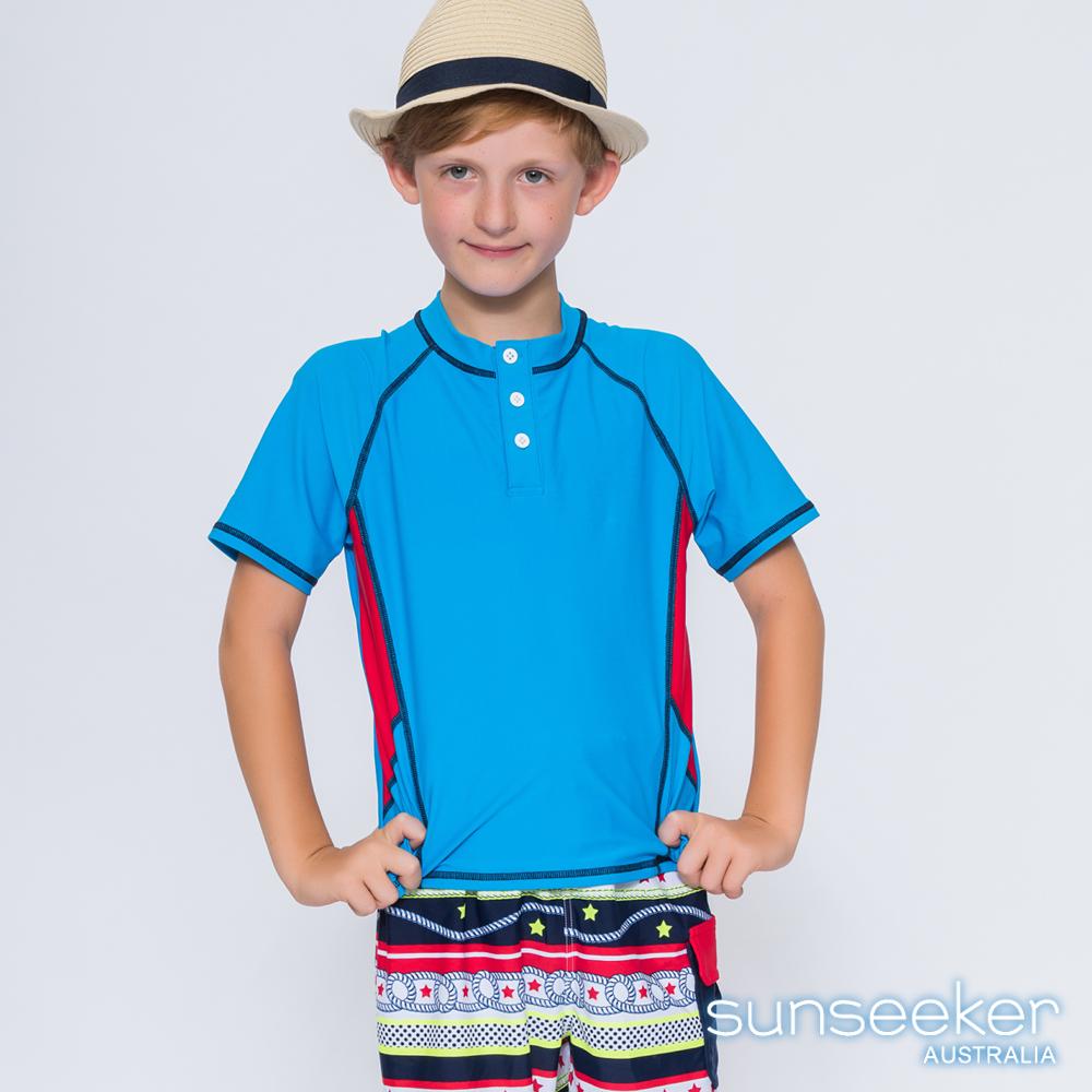 澳洲Sunseeker泳裝抗UV防曬立領短袖泳衣-大男童上衣/天藍