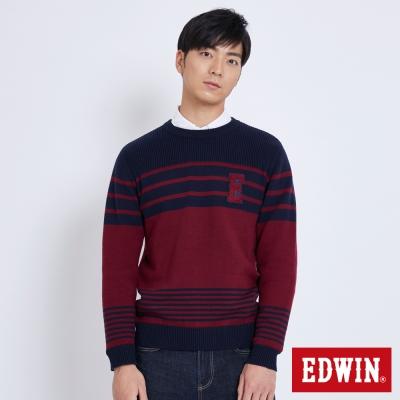 EDWIN 包浩斯條紋E字線衫-男-朱紅色