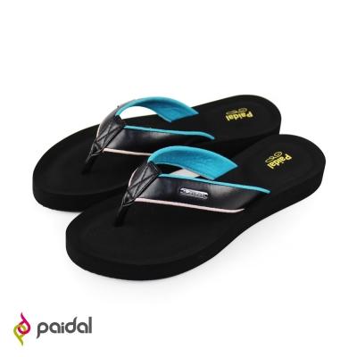 Paidal優雅皮質膨膨氣墊美型夾腳拖鞋-優雅黑