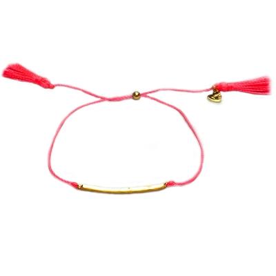 GORJANA Mini X Me 金色平衡骨 螢光粉紅色流蘇手鍊 雙材質設計 可調式手圍