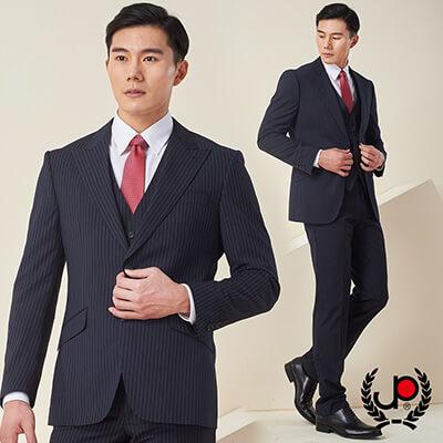 極品西服-雅痞品味條紋仿毛大劍領西裝_藍白條(AS632-3G)