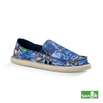 SANUK 海浪印花LOVE懶人鞋-女款(藍色)