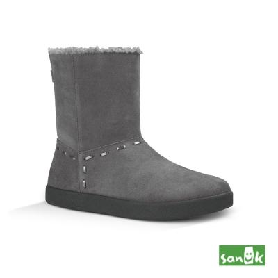 SANUK 麂皮內鋪羊毛中筒靴-女款(鐵灰色)