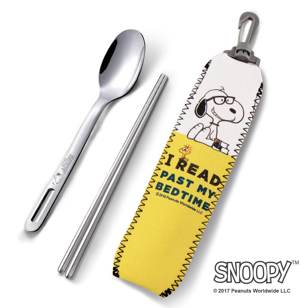 史努比SNOOPY 小日子#304不鏽鋼餐具組(筷子+湯匙)/2款任選(快)