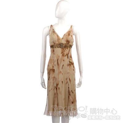 ALBERTA FERRETTI 米咖色V領絲質洋裝