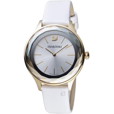 施華洛世奇SWAROVSKI Octea Nova系列都市切面腕錶-36mm/銀x白色