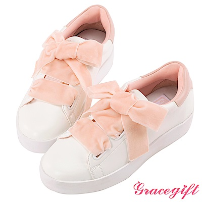 Disney collection by Grace gift蜜桃絨緞帶糖果休閒鞋 粉