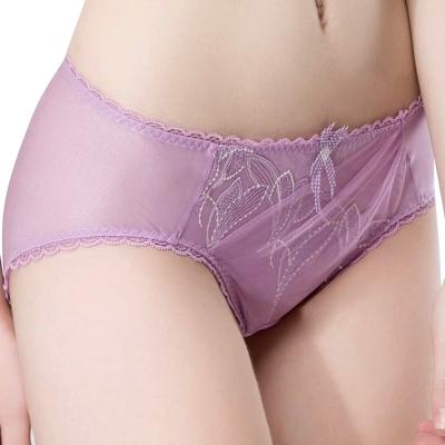 思薇爾 羽霓精靈系列M-XXL蕾絲刺繡中腰三角內褲(霓煙紫)