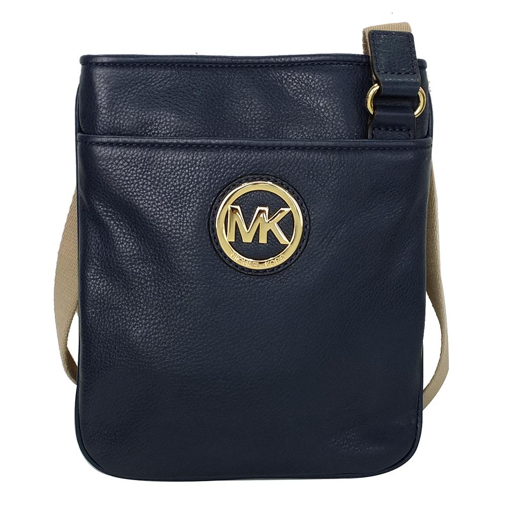 MICHAEL KORS深藍荔枝皮革立體Logo飾牌斜背小包
