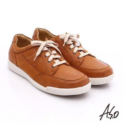 A.S.O 輕量抗震 蠟感真皮綁帶素面休閒鞋 茶