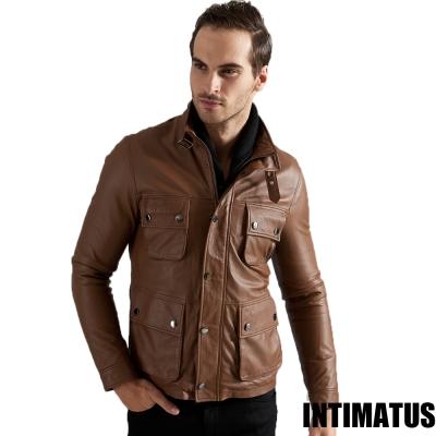 真皮皮衣 時尚軍裝頂級小羊皮皮衣 咖啡色-INTIMATUS