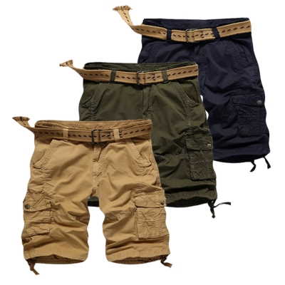 美國熊 專櫃質感 水洗仿舊面料 素面工作短褲