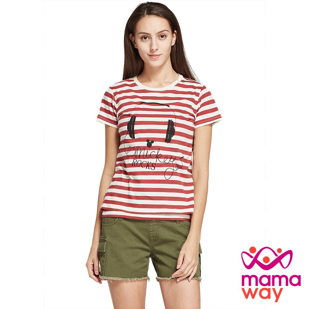 孕婦裝 哺乳衣 迪士尼ROCK米奇真兩件哺乳上衣 Mamaway