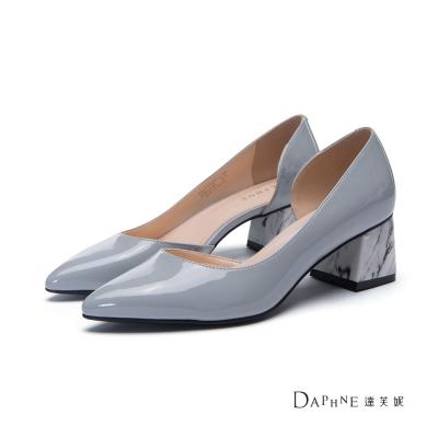 達芙妮DAPHNE-高跟鞋-大理石紋粗跟中空尖頭高跟鞋-灰