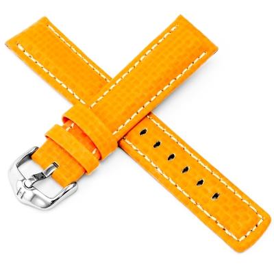 海奕施 HIRSCH Carbon L 防水100米 碳纖維壓紋皮革錶帶-橘黃