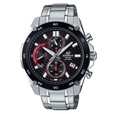 EDIFICE碳纖維編織感扇形錶眼設計腕錶(EFR-557CDB-1A)黑x黑框/46.7mm