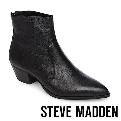 STEVE MADDEN-CAFE 真皮尖頭粗跟拉鍊短靴-黑色