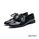 達芙妮DAPHNE 牛津鞋-繫帶挖空低跟牛津鞋-黑