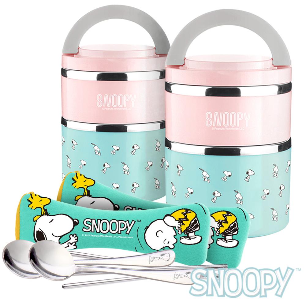 [買一送一]史努比SNOOPY馬卡龍#304不鏽鋼雙層加大保溫便當盒+餐具組