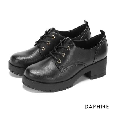 達芙妮DAPHNE 休閒鞋-拼接繫帶厚底鋸齒學院風休閒鞋-黑