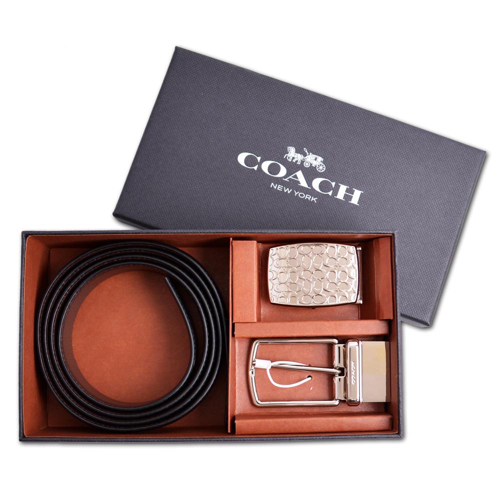 COACH  正反兩用雙扣頭雙色全皮革皮帶禮盒組-黑/咖啡