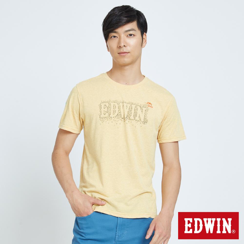 EDWIN 堆疊斑駁LOGO印花T恤-男-黃色