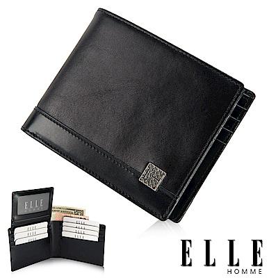 福利品 ELLE 精品小牛皮多層收納名片/證件夾層設計短夾- 黑色